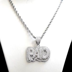 """Other - White Gold Finish Lab Diamond PAID Charm 24"""" Chain"""